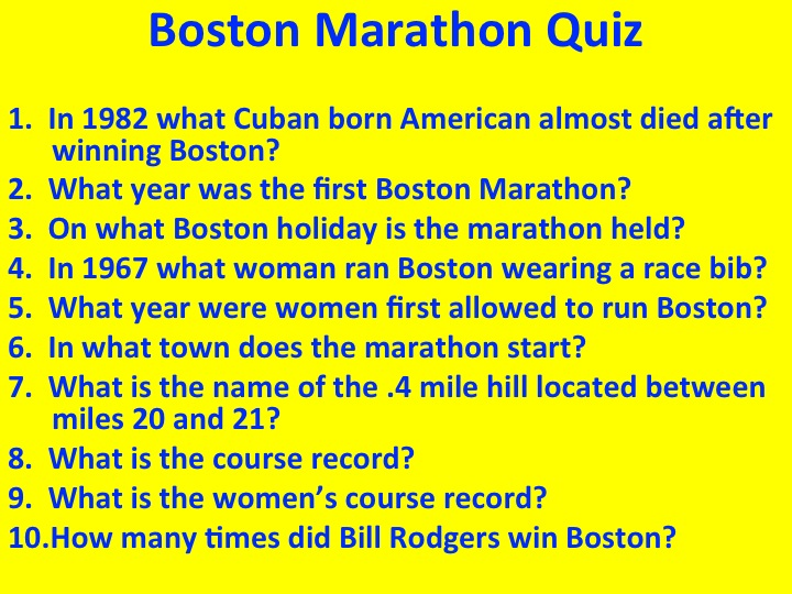 Boston Marathon Quiz and Postcards from Adidas