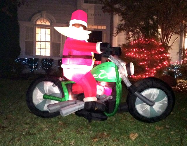 ChristmasLightsRunSantaOnMotorcycle