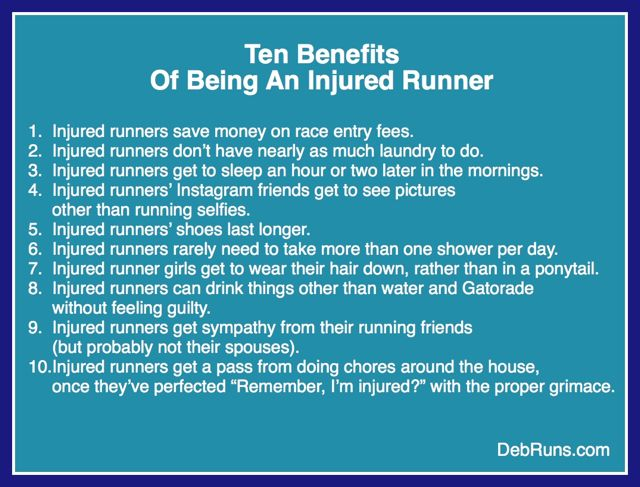 Ten Benefits Of Being An Injured Runner